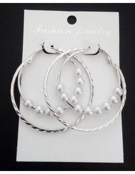 Créoles anneaux superposés et perles coulissantes