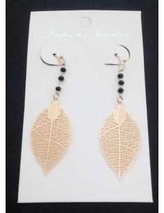 Boucles d'oreilles pendantes motif feuilles