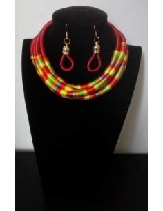 Collier tribal africain ras de cou & boucles d'oreilles