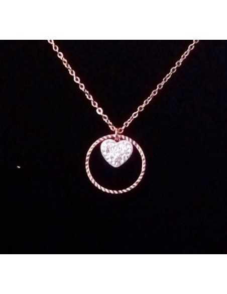 Collier acier gold rose pendentif anneau et coeur serti