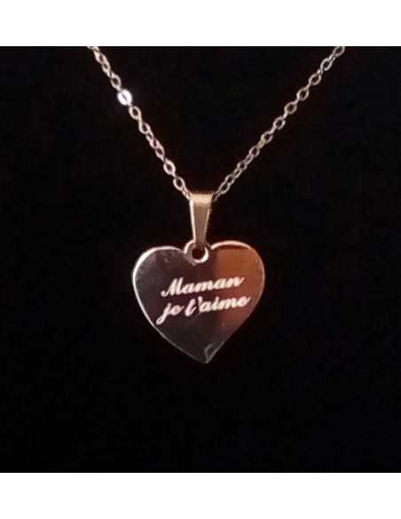 """Collier acier gold rose pendentif coeur """" maman je t'aime"""""""