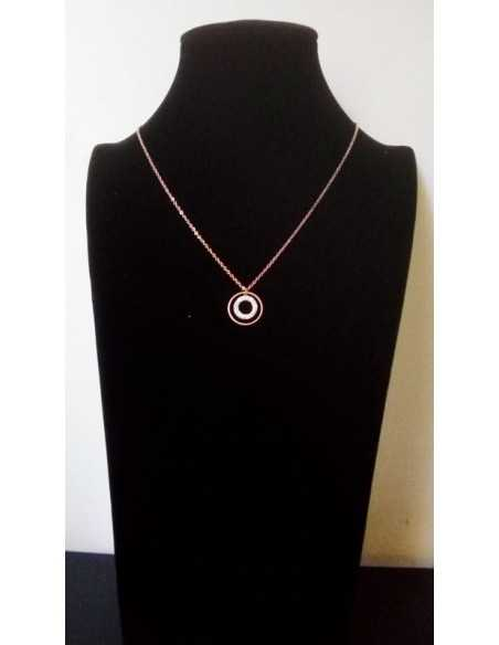 Collier acier gold rose pendentif anneaux sertis