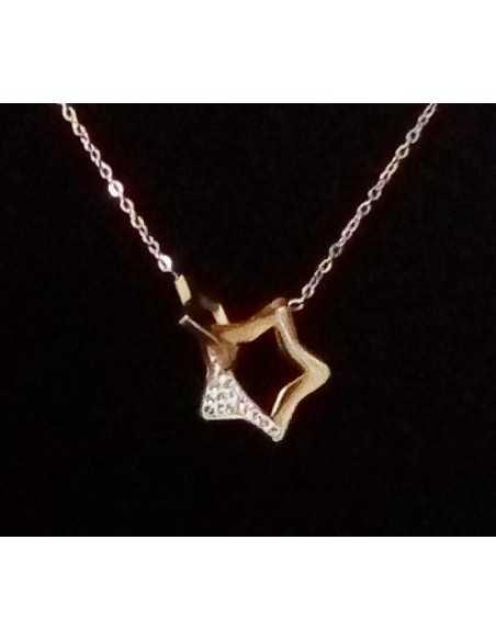 Collier acier gold rose pendentif étoile ouverte sertie
