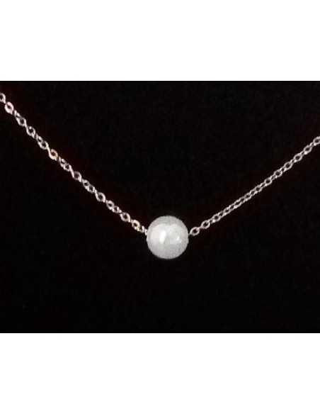 Collier acier pendentif perle irisée