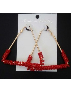 Boucles d'oreilles créoles triangles avec perles