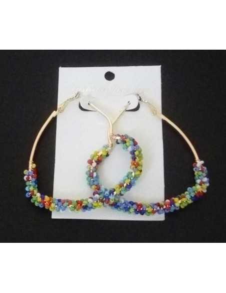 Boucles d'oreilles créoles difformes géométriques à perles