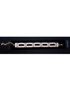 Bracelet strass souple motif éléments géométriques