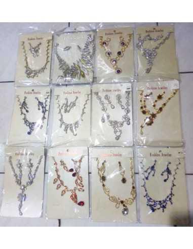 Destockage lot de 12 parures bijoux soirée