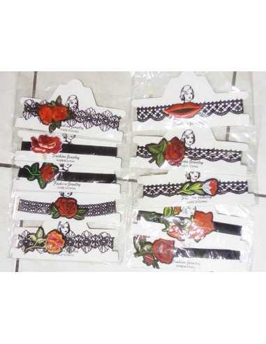 Destockage lot de 12 colliers chokers motif fleurs