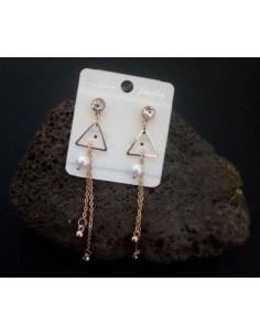 Boucles d'oreilles pendantes triangle et longue chaine