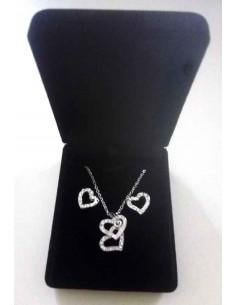 Parure en coffret collier pendentif double coeurs mobiles et boucles