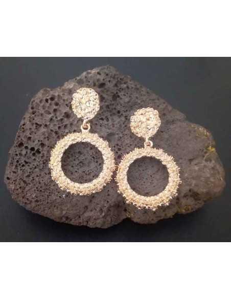 Boucles d'oreilles rondes pendantes effet texturé 4 cm