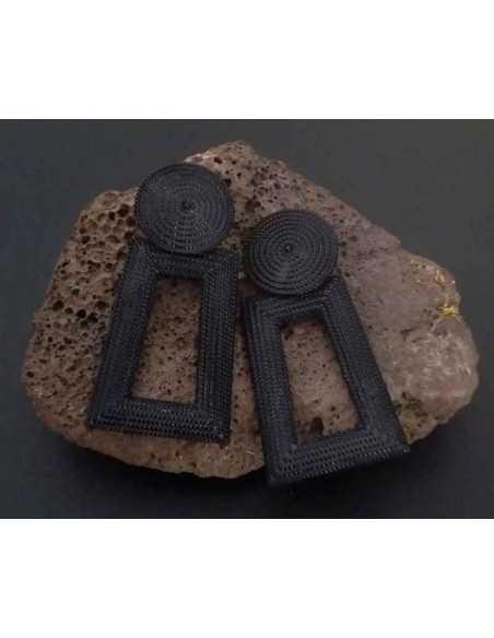 Boucles d'oreilles rectangulaires pendantes 7 cm
