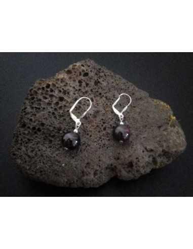 Boucles d'oreilles grenat pierre boule 10 mm