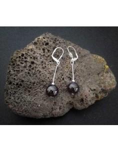 Boucles d'oreilles grenat boules pendantes 4 cm