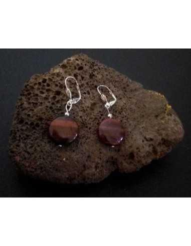 Boucles d'oreilles rondes plates oeil de boeuf pierre naturelle 1.8 cm
