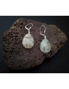 Boucles d'oreilles préhnite pierres gouttes 2.5 cm