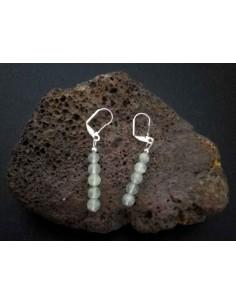 Boucles d'oreilles préhnite pierres boules pendantes 3.5 cm