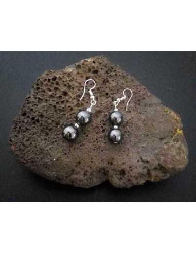 Boucles d'oreilles pendantes hématites pierre naturelle 3 cm
