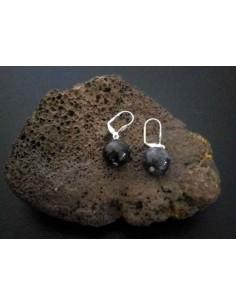 Boucles d'oreilles quartz inclusion de tourmaline pierres boules 1.2 cm