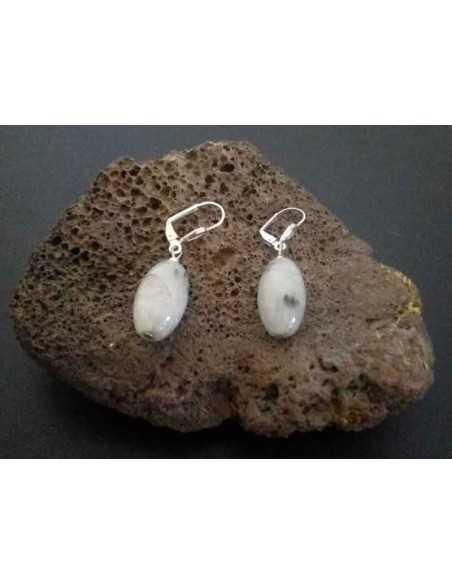 Boucles d'oreilles quartz inclusion de tourmaline tambour