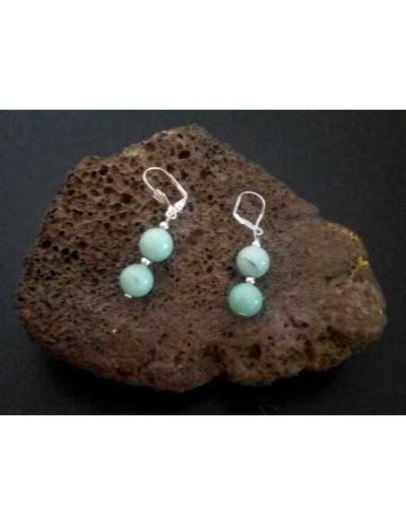 Boucles d'oreilles amazonite pendantes pierres boules