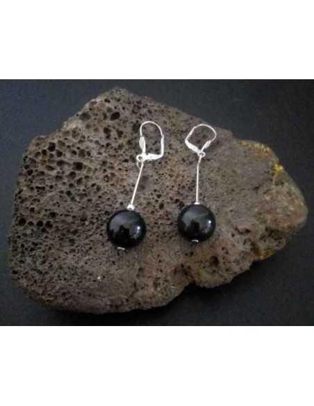 Boucles d'oreilles onyx boules pendantes