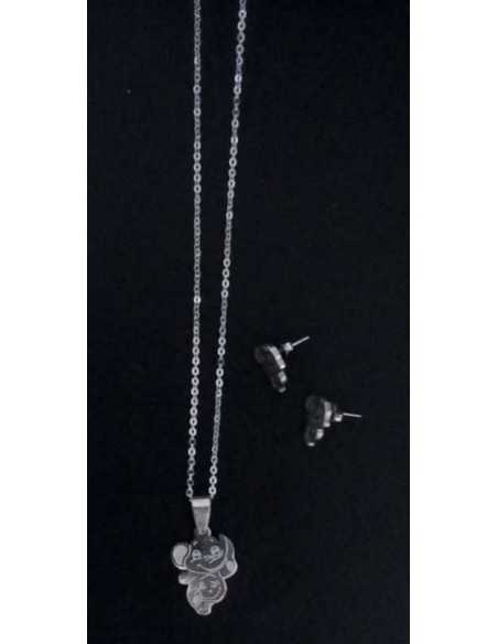 Parure acier collier pendentif éléphant avec boucles