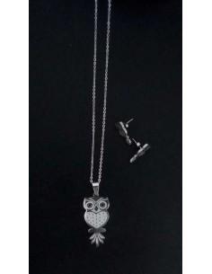 Parure acier collier pendentif hibou avec boucles d'oreilles