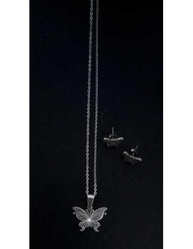 Parure acier collier pendentif papillon avec boucles d'oreilles