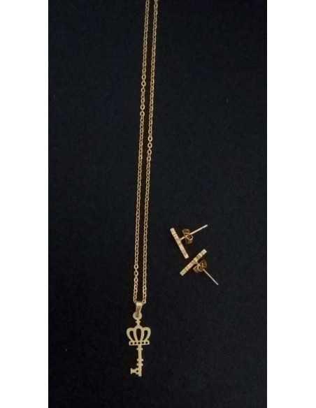 Parure acier collier pendentif clé avec boucles d'oreilles