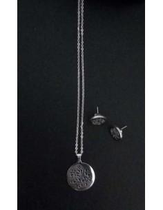 Parure acier collier pendentif fleur sur médaillon et boucles d'oreilles