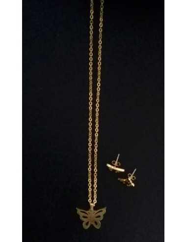 Parure acier collier pendentif papillon filigrané et boucles d'oreilles