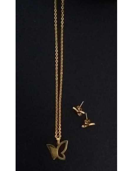Parure papillon acier collier & boucles d'oreilles pendentif
