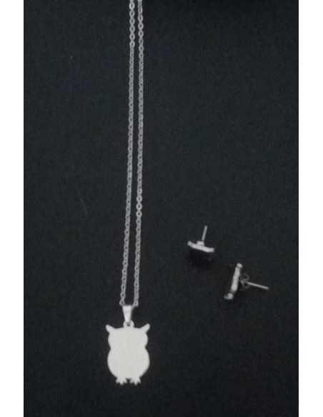 Parure Hibou acier collier & boucles d'oreilles pendentif