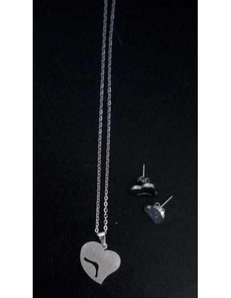 Parure coeur acier collier pendentif & boucles d'oreilles