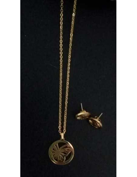 Parure papillon ouvert acier collier pendentif & boucles d'oreilles
