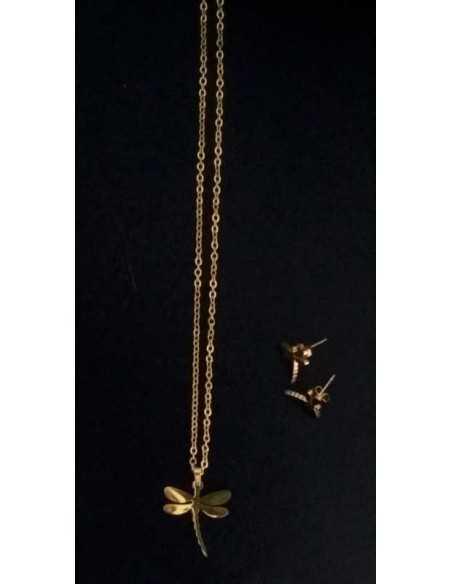 Parure libellule acier collier & boucles d'oreilles pendentif