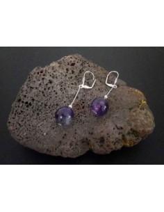 Boucles d'oreilles améthyste pendantes 4 cm