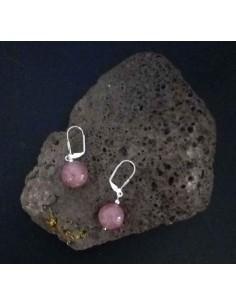 Boucles d'oreilles quartz rose lavande pierres boules 10 mm
