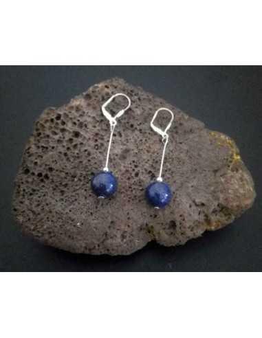 Boucles d'oreilles lapis-lazuli boules pendantes 4 cm