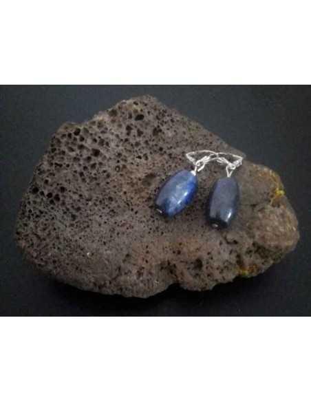 Boucles d'oreilles lapis-lazuli tambour 2.5 cm