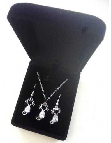 Parure en coffret collier pendentif chat motif ouvert et boucles
