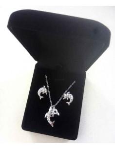 Parure en coffret collier pendentif dauphin avec boucles d'oreilles