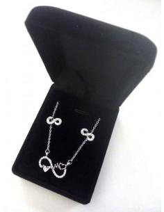 Parure en coffret collier pendentif infini double coeurs et boucles