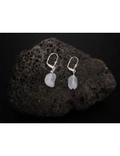 Boucles d'oreilles quartz rose pierres cubiques