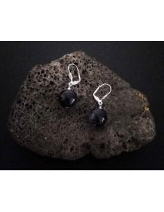 Boucles d'oreilles pierre de soleil noire boules 10 mm