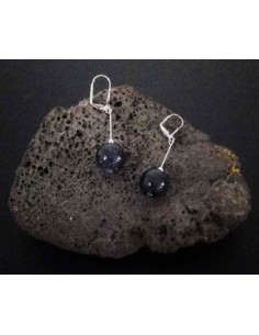 Boucles d'oreilles pierre du soleil noire boules pendantes 4 cm