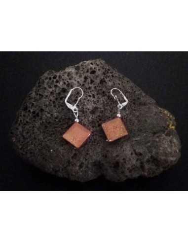 Boucles d'oreilles pierre de soleil perles carrées 1.2 cm