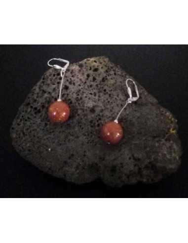 Boucles d'oreilles pierre de soleil perles pendantes 4 cm